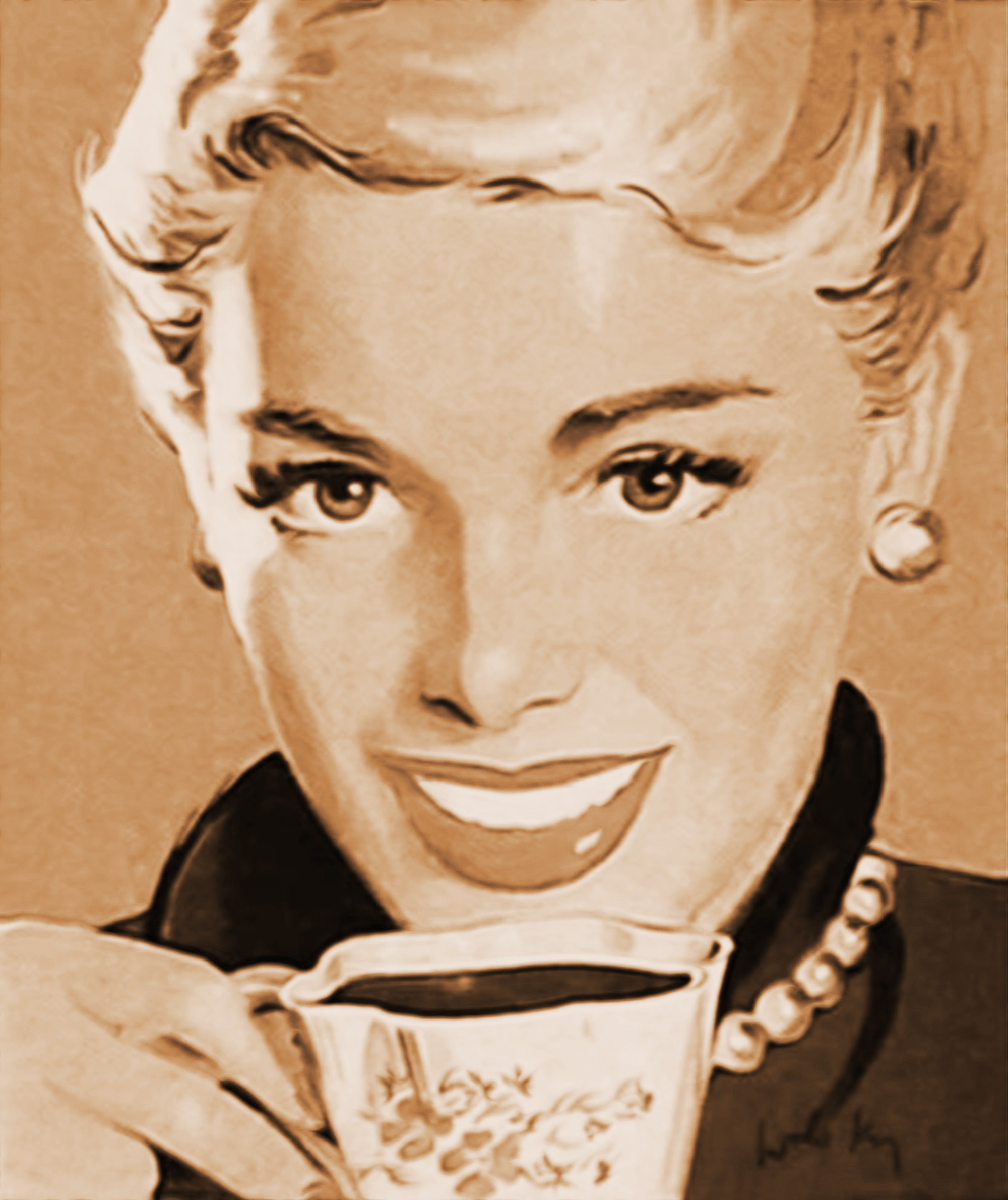 vintage 1960's illustration of a smiling, blonde woman drinking coffee